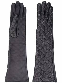 Manokhi quilted long leather gloves AW20MANO185A850LONGWHITESTITCHES