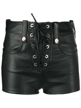 Manokhi lace-up leather shorts AW20MANO219A556LACEBLACK