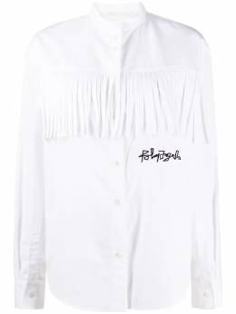 Palm Angels logo embroidered fringed shirt PWGA041F20JER0010110