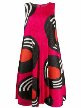 Pleats Please Issey Miyake micro-pleated abstract print midi dress PP08JH745