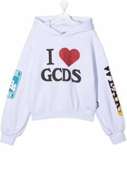 GCDS Kids TEEN logo print hoodie 026178