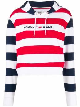 Tommy Jeans embroidered logo stripe pattern hoodie DW0DW08544