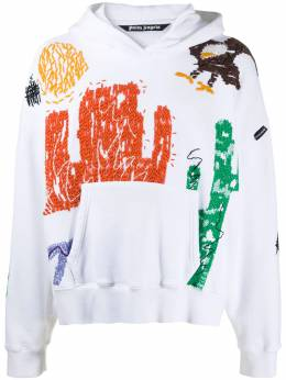 Palm Angels New Folk embroidery hoodie PMBB058F20FLE0090184