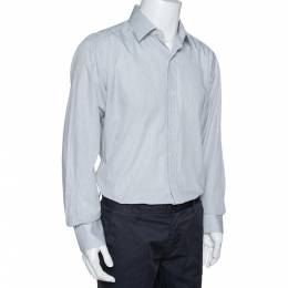 Tom Ford White & Black Pinstriped Cotton Long Sleeve Shirt XXL 328796