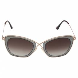 Tom Ford Pale Gold Tone/ Brown Gradient TF605 India 02 Butterfly Sunglasses 330315