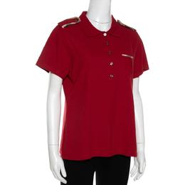 Burberry Brick Red Cotton Pique Shoulder Flap Detail Polo T Shirt XL 330170