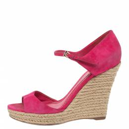 Dior Pink Suede Optique Wedge Ankle Strap Sandals Size 39.5 331361