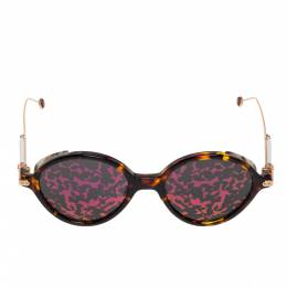 Dior Gold Havana / Pink Mirror Leaf DiorUmbrage Round Sunglasses 331774
