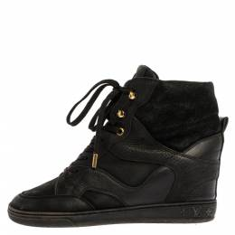 Louis Vuitton Black Monogram Leather And Suede Cliff Top Lace Up Sneakers Size 37 328749