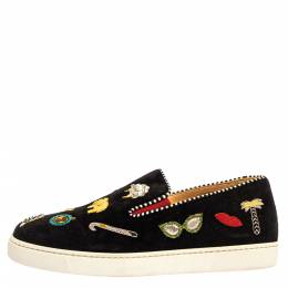 Christian Louboutin Black Embellished Suede Pik N Luck Slip-on Sneakers Size 38.5 330088