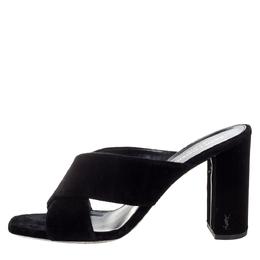 Saint Laurent Paris Black Velvet LouLou Cross Strap Sandals Size 41 Yves Saint Laurent 328691
