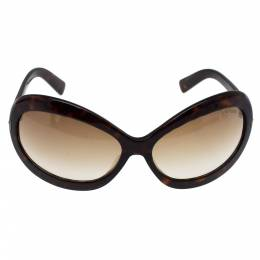 Tom Ford Dark Havana/ Brown Gradient TF428 Edie Oval Sunglasses 330252