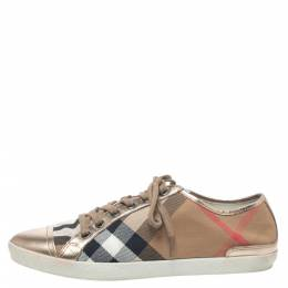 Burberry Metallic Gold Leather And Beige Canvas Low Top Lace Up Sneakers Size 40 330092