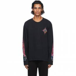 Rhude Black Neon Flame Long Sleeve T-Shirt RHU08PF20016