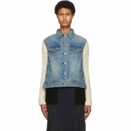 Sacai Blue and Off-White Denim and Wool Jacket 20-05153