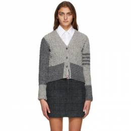 Thom Browne Grey Wool and Mohair Funmix Aran Cable 4-Bar Cardigan FKC348F-00278