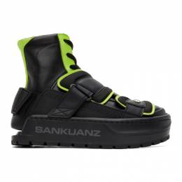 Sankuanz Black and Green Chunky Protector Sneakers SKZM20AW0FW0201-BK
