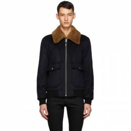 Mackage Navy Wool and Shearling Theo Bomber Jacket THEO