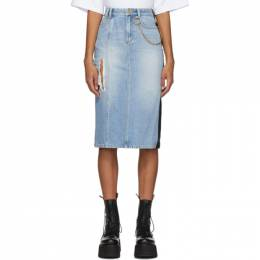 Sjyp Blue Denim and Faux Leather Pencil Skirt PW2A9NSC019W