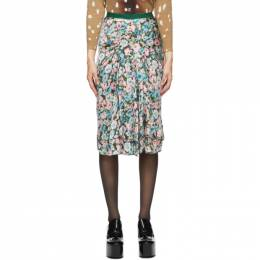 Marc Jacobs Green Silk Floral The 40s Skirt V1000023