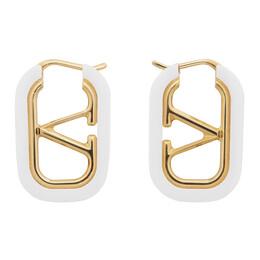Valentino Gold and White Valentino Garavani VLogo Hoop Earrings UW2J0F88DHC