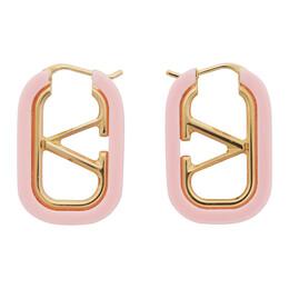 Valentino Gold and Pink Valentino Garavani VLogo Hoop Earrings UW2J0F88DHC
