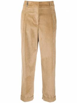 Peserico cropped corduroy-detail trousers P0480902883