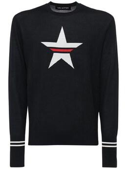 Intarsia Wool Blend Light Knit Sweater Neil Barrett 72I05I017-Mjk4Ng2