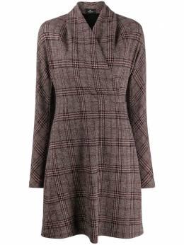 Etro клетчатое платье с запахом 192490096