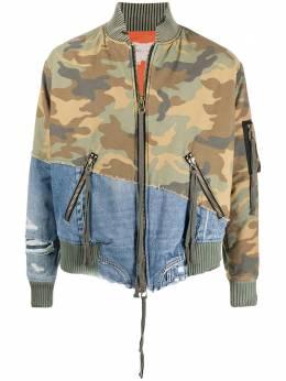 Greg Lauren джинсовая куртка с камуфляжной вставкой AM262