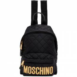 Moschino Black Small Quilted Logo Backpack 7608 8201