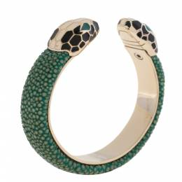 Bvlgari Green Galuchat Serpenti Forever Gold Plated Open Cuff Bracelet 331885