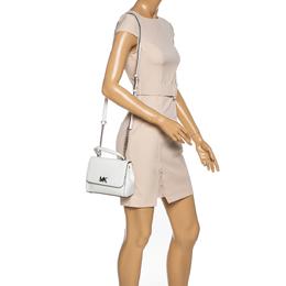 Michael Kors White Leather Mott Top Handle Bag 330257