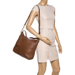 MICHAEL Michael Kors Brown Leather Bedford Tassel Shoulder Bag 329571
