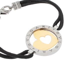 Bvlgari Tondo Heart 18K Yellow Gold & Stainless Steel Cord Bracelet 331452