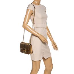 Michael Kors Gold Python Effect Patent Leather Sloan Chain Shoulder Bag 330313