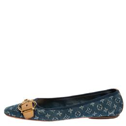 Louis Vuitton Blue Denim Fabric Buckle Detail Ballet Flats Size 40 333621