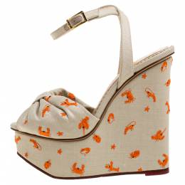 Charlotte Olympia Beige Canvas Embroidered Ankle Strap Wedge Platform Sandals Size 36.5 330683