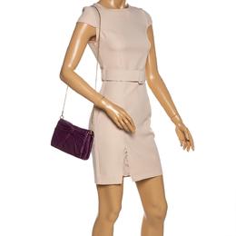 Nina Ricci Purple Leather Pleated Bow Flap Shoulder Bag 329461
