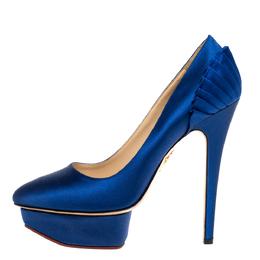 Charlotte Olympia Blue Satin Paloma Platform Pumps Size 37.5 333516
