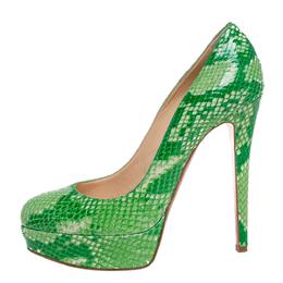 Christian Louboutin Green Python Leather Bianca Platform Pumps Size 38 333603