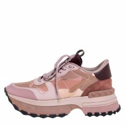Valentino Pink Camouflage Leather, Canvas and Suede Platform Sneakers Size 40 332005