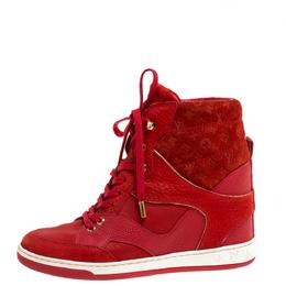 Louis Vuitton Red Suede Monogram Millenium Wedge Sneakers Size 36 333658