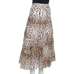 Roberto Cavalli Bicolor Leopard Print Cotton Tiered Midi Skirt M 329793