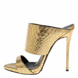 Giuseppe Zanotti Design Metallic Gold Snakeskin Effect Leather Andrea Mules Size 37.5 332038
