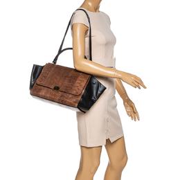 Celine Black/Brown Leather and Python Medium Trapeze Bag 330758