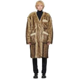 Raf Simons Reversible Black and Off-White Faux-Fur Labo Coat 202-639