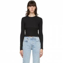 Rag&Bone Black The Rib Cropped Long Sleeve T-Shirt WCC20FT054JR54