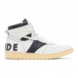 Rhude White and Black Rhecess Hi Sneakers RHU08PF20120