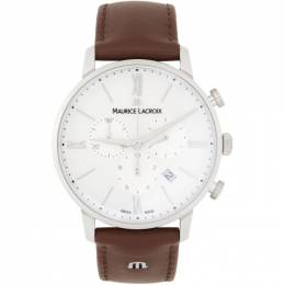Maurice Lacroix White and Brown Eliros Chrono Watch EL1098-SS001-112-1**